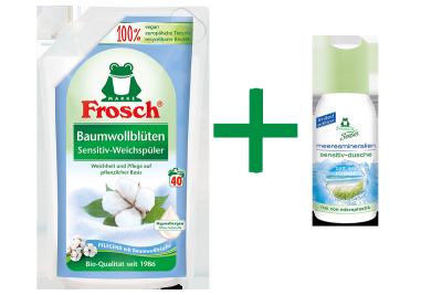 Frosch Baumwollblüten Sensitiv-Weichspüler + Gratis-Dusche